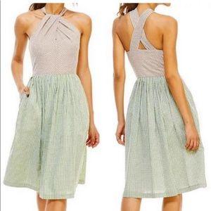NWT Gal Meets Glam Alma Gingham Halter Midi Dress